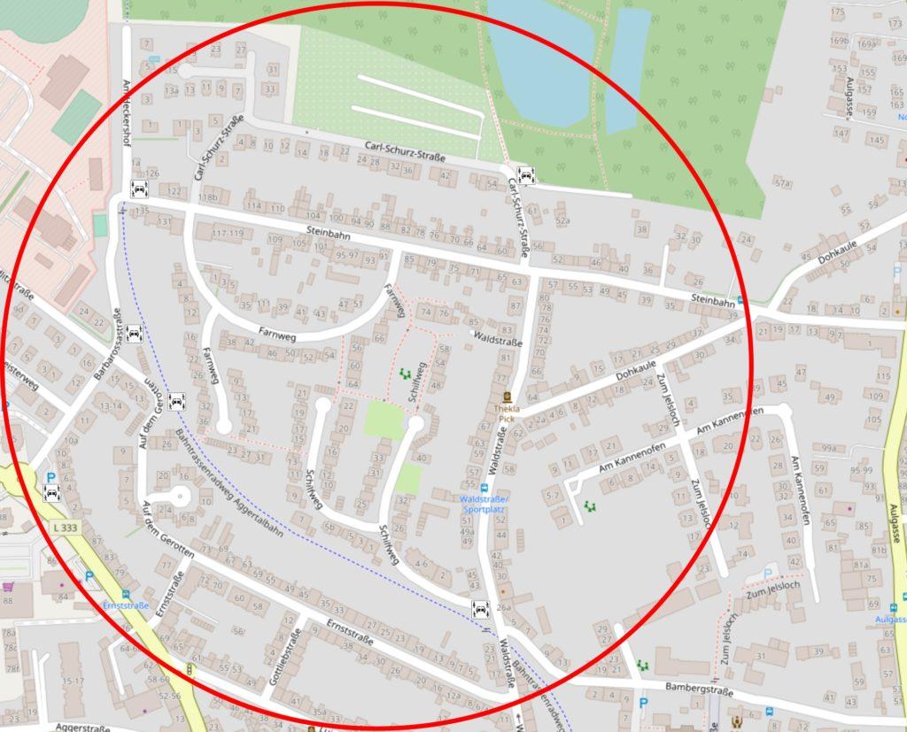 Straßenkarte des Viertels mit möglichen Standorten